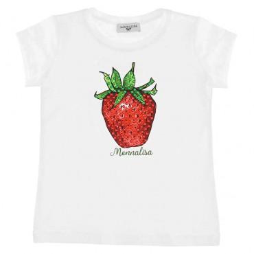 Koszulka dziewczęca z truskawką Monnalisa 004394 - stylowe ubranka dla dzieci - sklep internetowy euroyoung.pl
