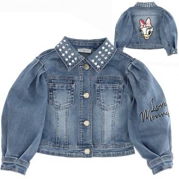 Kurtka jeansowa dla dziewczynki Monnalisa 004405 - ubranka dla dziewczynek - internetowy sklep dla dzieci i niemowląt euroyoung.
