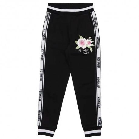 Czarne spodnie dla dziewczynki Monnalisa 004406 - stylowe ubranka dziecięce - sklep internetowy dla dzieci i niemowląt euroyoung