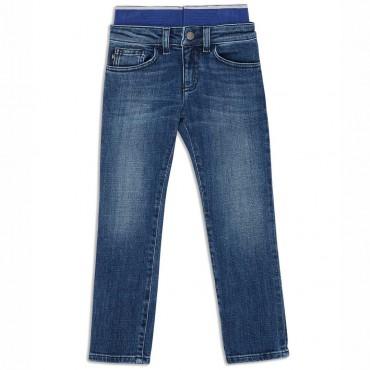 Niebieskie jeansy chłopięce Emporio Armani 004414 - spodnie dla dzieci - sklep online euroyoung.pl