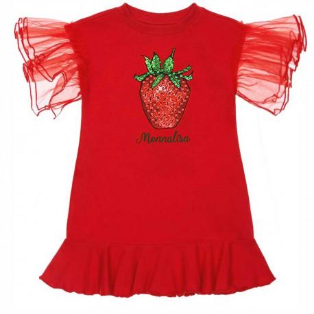 Czerwona sukienka dziewczęca Monnalisa 004416 - sklep internetowy - ubrania dla dzieci