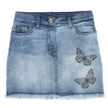 Spódnica jeansowa dla dziewczynki Monnalisa 004417 - ubrania dla nastolatek - sklep internetowy