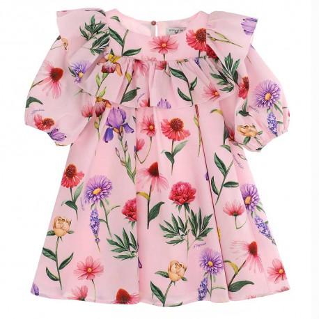 Dziewczęca sukienka w kwiaty Monnalisa 004419 - oryginalne sukienki dla dzieci