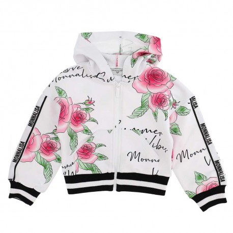 Dziewczęca bluza w kwiaty Monnalisa 004421 - modne bluzy dla dzieci - sklep internetowy