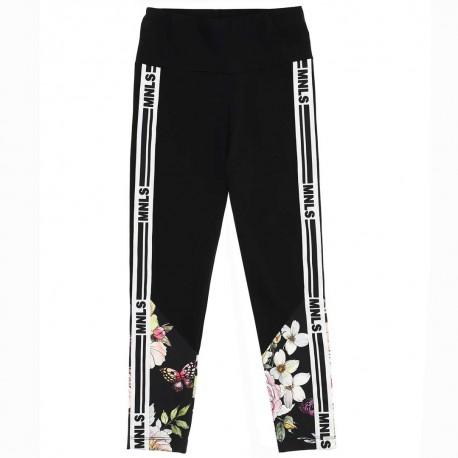Czarne legginsy w kwiaty Monnalisa 004423 - wygodne ubrania dla dzieci i młodzieży- sklep internetowy