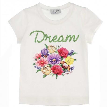 Koszulka dziewczęca nadruk kwiaty Monnalisa 004425 - ubranka dla dzieci- sklep internetowy euroyoung.pl