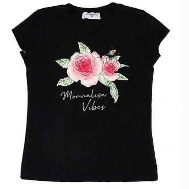 Czarna koszulka z nadrukiem Monnalisa 004427 - koszulki dla dziewczynek - sklep internetowy