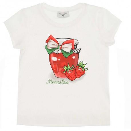 T-shirt dziecięcy z nadrukiem Monnalisa 004428 - ubrania dla dziewczynek - sklep internetowy