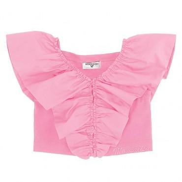 Różowy crop top dla dziecka Monnalisa 004429 - ekskluzywne ubrania dla dziewczynek - sklep internetowy