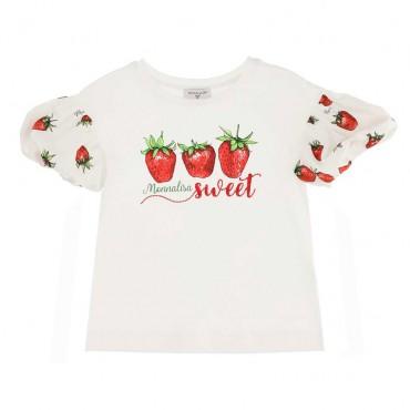 Bluzka z bufiastymi rękawami Monnalisa 004431 - ubranka dla dzieci - sklep internetowy