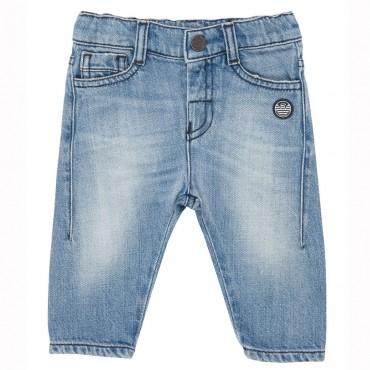 Niebieskie jeansy niemowlęce Emporio Armani 004451 - ubranka dla niemowląt i małych dzieci
