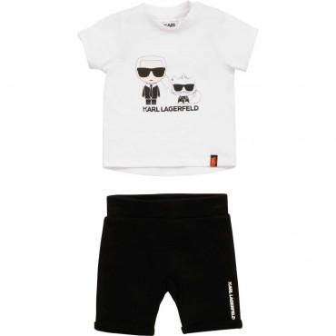 T-shirt + szorty niemowlęce Karl Lagerfeld 004454 - ekskluzywne ubranka dla maluchów