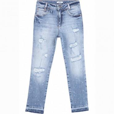 Jeansy dziewczęce z kryształkami Liu Jo 004478 - ubrania dla dzieci i nastolatków - sklep internetowy
