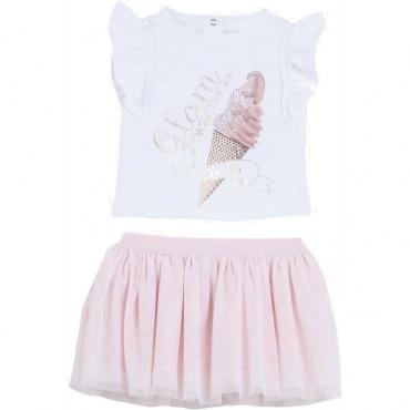 Komplet niemowlęcy dla dziewczynki Liu Jo 004480 - ekskluzywne ubranka dla niemowląt - sklep internetowy