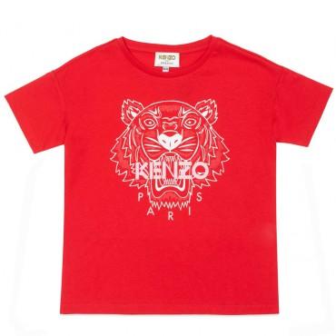 Czerwona koszulka dziewczęca oversize Kenzo 004483