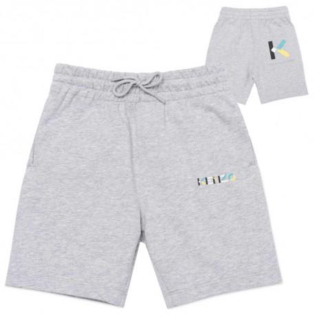 Szare szorty dla chłopca z monogramem Kenzo 004485 - krótkie spodenki dla dzieci