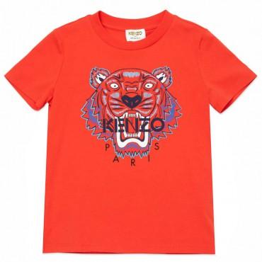 Czerwony t-shirt dla chłopca tygrys Kenzo 004491 - stylowe ubrania dla dzieci - sklep internetowy