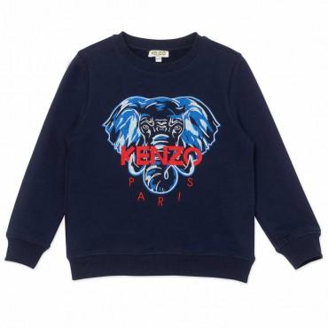 Granatowa bluza dla dziecka Elephant Kenzo 004492 - ekskluzywne ubranka dziecięce i niemowlęce