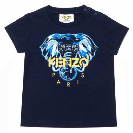 Granatowy t-shirt dla niemowlęcia Kenzo 004495 - ubranka dla noworodków