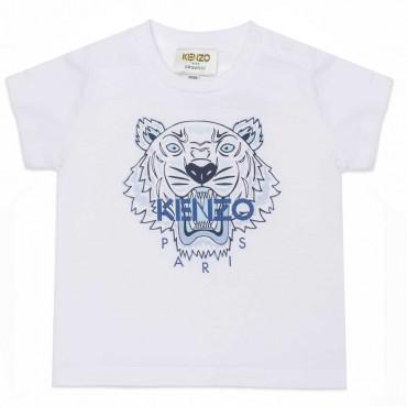 Biały t-shirt niemowlęcy Tiger Kenzo 004496 - ekskluzywne ubranka dla niemowląt