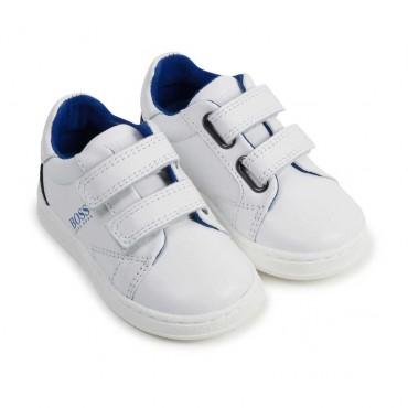 Sneakersy dla chłopca na rzepy Hugo Boss 004518 - sportowe buty dla dzieci - sklep internetowy