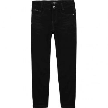 Czarne jeansy dla chłopca Hugo Boss 004522 - modne ubrania dla dzieci - sklep internetowy