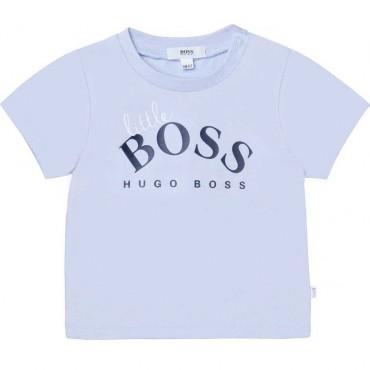 Błękitny t-shirt niemowlęcy Hugo Boss 004533 - modna odzież niemowlęca - sklep internetowy