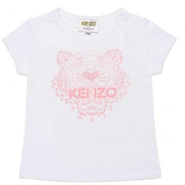 Biały t-shirt dziewczęcy z tygrysem Kenzo 004546