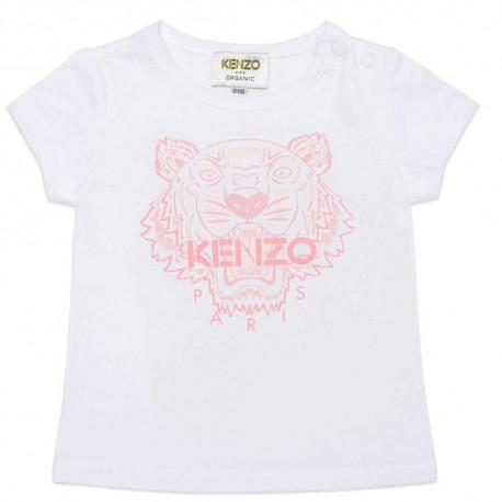 Biały t-shirt dziewczęcy z tygrysem Kenzo 004546 - firmowe koszulki dla dzieci - sklep internetowy