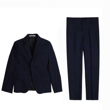 Granatowy garnitur chłopięcy Hugo Boss 004561 - eleganckie garnitury chłopięce slim fit - sklep internetowy