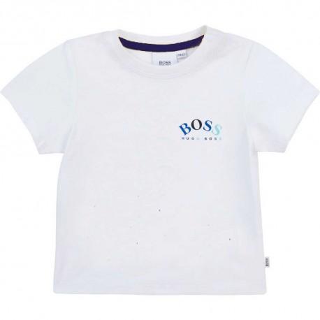 Biały t-shirt niemowlęcy Hugo Boss 004564 - markowe ubranka dla chłopczyków - sklep internetowy