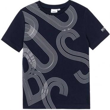 Granatowy t-shirt dla chłopca Hugo Boss 004570