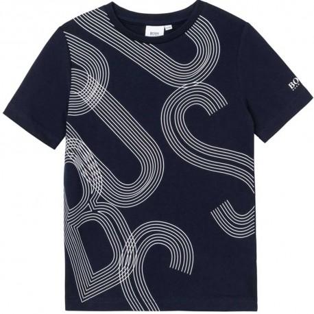 Granatowy t-shirt dla chłopca Hugo Boss 004570 - stylowe koszulki chłopiece - sklep internetowy