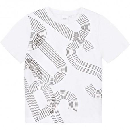 Biała koszulka dla chłopca Hugo Boss 004571 - odzież chłopięca -sklep internetowy