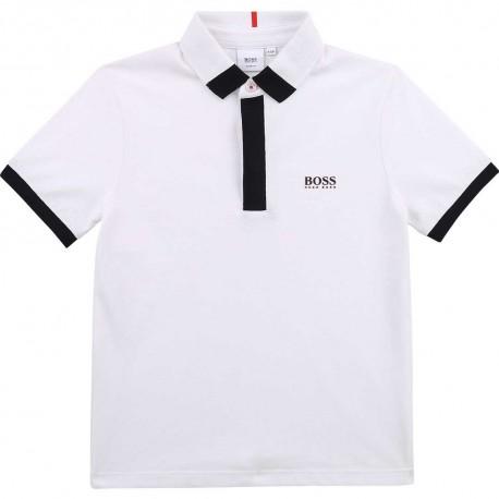 Biała koszulka polo dla chłopca Hugo Boss 004572 - odzież dla dzieci - sklep internetowy