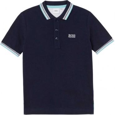 Granatowe polo dla chłopca Hugo Boss 004573 - odzież dla dzieci - sklep online