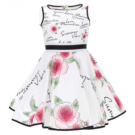 Rozkloszowana sukienka dziewczęca Monnalisa 004578 - stylowe sukienki dla dzieci - sklep internetowy