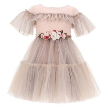 Tiulowa sukienka dla dziewczynki Monnalisa 004588 - ekskluzywne ubranka dla dzieci - sklep internetowy euroyoung.pl