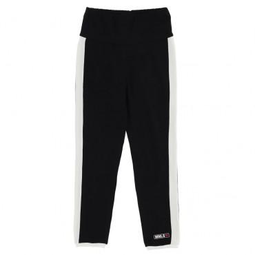Czarne legginsy z lampasami Monnalisa 004589 - sklep internetowy z ubrankami dla dzieci