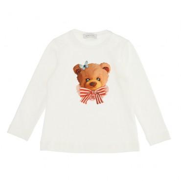Koszulka dziewczęca z misiem Monnalisa 004592 - ekskluzywne ubranka dla dzieci - sklep internetowy euroyoung.pl