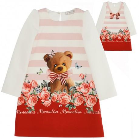 Trapezowa sukienka dziewczęca Monnalisa 004593 - ekskluzywne ubranka dla dzieci - sklep euroyoung.pl