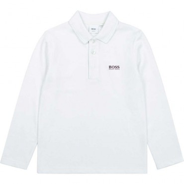 Chłopięce polo z długim rękawem Hugo Boss 004620 - eleganckie ubrania dla chłopców - sklep internetowy euroyoung.pl