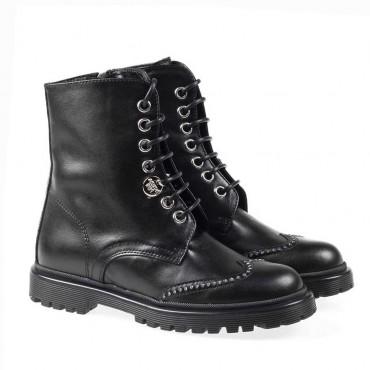 Wiązane botki dla dziewczynki Patrizia Pepe 002284 A - ekskluzywne obuwie dla dzieci