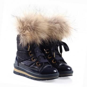 Ocieplone buty dziewczęce z naturalnym futrem Jog Dog 002288 a - ekskluzywne obuwie dla dzieci