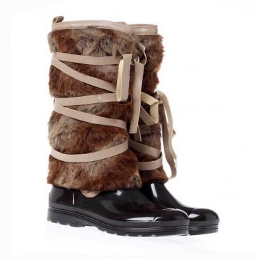Kalosze dziewczęce z futrem Florens T2895 - oryginalne obuwie dla dzieci i nastolatek - sklep internetowy euroyoung.pl
