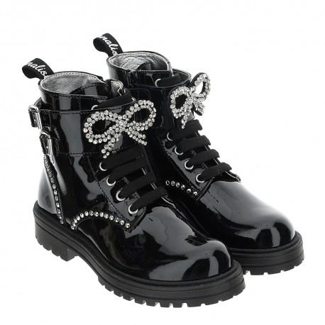 Lakierowane botki dla dziewczynki Monnalisa 004624 - ekskluzywne obuwie dla dzieci - sklep online euroyoung.pl