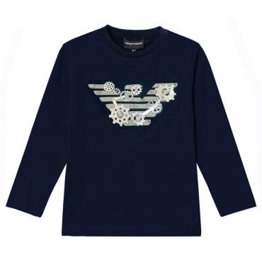 Granatowa koszulka chłopięca Emporio Armani 004626 - oryginalne ubrania dla dzieci i nastolatków - sklep internetowy euroyoung.p