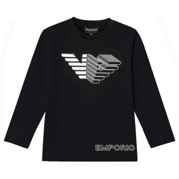 Czarna koszulka dla chłopca Emporio Armani 004627 - stylowa odzież dziecięca - sklep internetowy euroyoung.pl