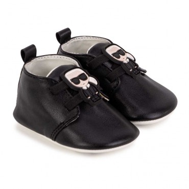 Czarne buciki niemowlęce Karl Lagerfeld 004640 - ekskluzywne niechodki - obuwie dla niemowląt - sklep internetowy euroyoung.pl