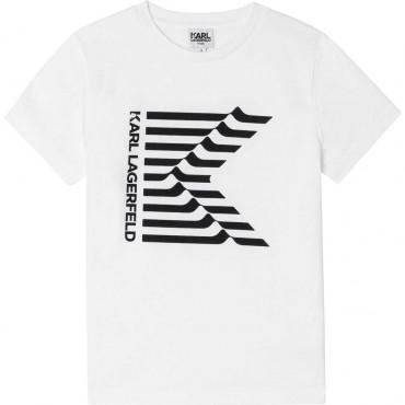 Biała koszulka dla chłopca Karl Lagerfeld 004641 - ekskluzywne ubrania dla dzieci i nastolatków - sklep internetowy euroyoung.pl
